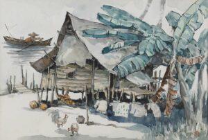 Paintiny by Yew Seng, Malaysian artist. 马来屋 Malay House, 1993, watercolour, 37 x 55 cm.