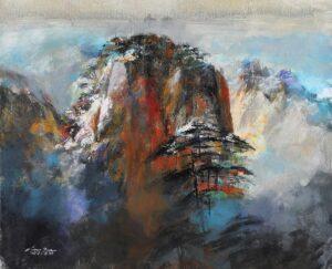 Simon Tan, Malaysian artist, 寿比南山 Longevity, 2017, oil on canvas, 86 x 106 cm.