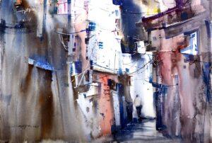 Tan Suz Chiang 陈书强, Malaysian artist. Back Lane 后巷, 2014, watercolour, 37 x 55 cm.