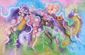 painting by Thongchai Rakpathum, Thailand national artist. Festival. 158 x 245 cm. oil on canvas. 2014