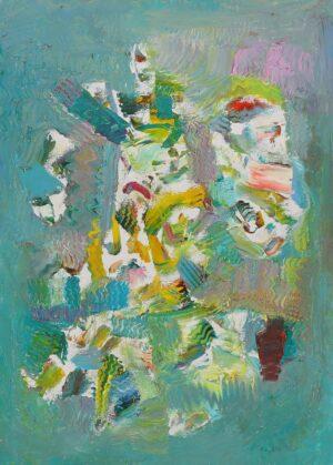 Thongchai Rakpathum National Artist of Thailand. Born 1941, Thailand. Vibration of the Sea abstract painting, 2014, 70 x 50cm, oil on canvas.