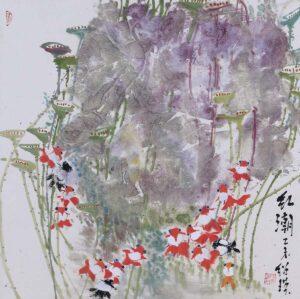 朱绍瑛 Shirley S.E Chu, Malaysian artist. 红潮 Rainbow, 2015, ink & colour on paper, 68 x 68 cm