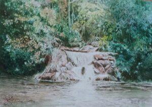 Abdul Ghani Ahmad. Waterfall Nature 瀑布, 2014, watercolour, 38 x 56 cm.