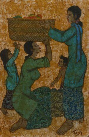 Chuah Thean Teng, Dato' 蔡天定, Malaysian artist, Fruit 水果, Batik, 90 x 59 cm