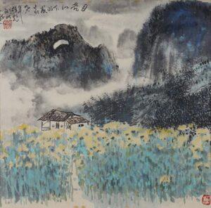 Hon Peow 韩彪, Malaysian artist. 月亮下的农家, 1996, ink & colour on paper, 50 x 50 cm.