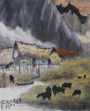 Hon Peow 韩彪, Malaysian artist, 寒烟漠上日西斜, 1997, ink & colour on paper, 65 x 65 cm.