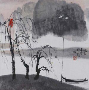 Hon Peow 韩彪. 柳树堤岸, 1995, ink & colour on paper, 50 x 50 cm