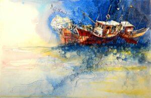 Jayson Yeoh Choon Seng, Malaysian artist, Accumulate 堆积, 2014, watercolour, 29 x 45 cm.