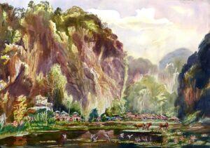 Loo Win罗荣, Malaysian artist. 青山含笑 Mountain in Green, 2012, watercolour. 64 x 80 cm