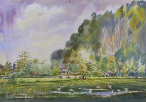Loo Win 罗荣, Malaysian artist. RIce Bowl 吉打稻香景, 2013, watercolour, 60 x 80 cm.