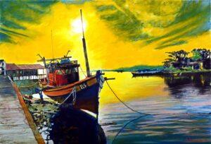 MOHAMMAD SHAHRIN DATO' HJ. SHAARI, Malaysian artist. Rest 休息, 2014, watercolour, 39 x 56 cm