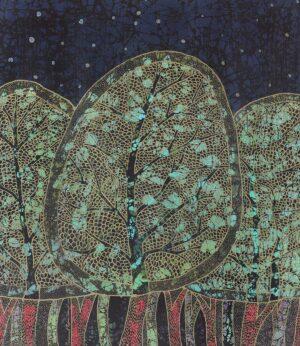 Mohammad Rojana-Udomsat, Thai artist. Trees, 2000, batik on silk, 75 x 85 cm.