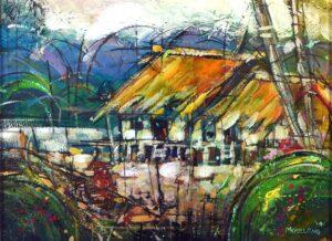 Ung Mooi Leng. Kampung Idyii, Mexid 乡村景色, 2014, mixed media on paper, 23 x 31cm