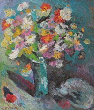Stroynova, Russian Artist. Flowers with Cat, 2015, oil on canvas, 100 x 90 cm